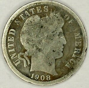 1908 P 10C BARBER DIME 19LHU0704 2 90  SILVER 50 CENTS SHIPPING