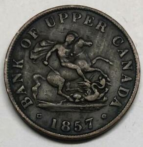 1857 CANADA HALF PENNY BANK OF UPPER CANADA TOKEN COIN