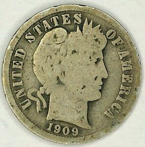 1909 P 10C BARBER DIME 19OLO0704 1 90  SILVER 50 CENTS SHIPPING