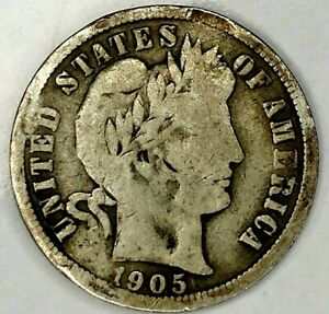 1905 P 10C BARBER DIME 19LUU0809 90  SILVER 50 CENTS SHIPPING