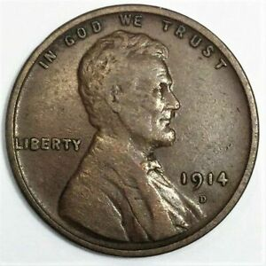 1914 D LINCOLN WHEAT CENT PENNY BEAUTIFUL HIGH GRADE COIN  DATE