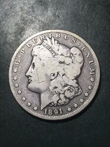 1891 CC MORGAN US SILVER DOLLAR    SHIPS FREE IN US    BETTER DATE CIRCULATED