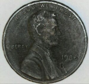 1986 LINCOLN MEMORIAL CENT ERROR MISSING CLAD LAYER BOTH SIDES