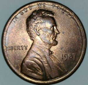 1987 LINCOLN MEMORIAL CENT ERROR PLATING RIDGE WITH   CUD   ON HEAD.