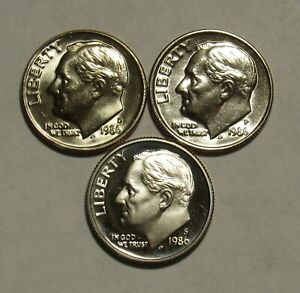 1986 P D&S ROOSEVELT DIMES IN BU AND PROOF CONDITION