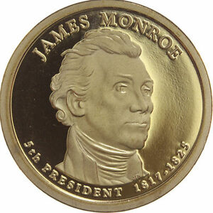 2008 S PRESIDENTIAL DOLLAR JAMES MONROE LRR GDC PROOF 50 CENTS SHIPPING