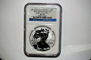 A36/375 SILVER EAGLE NGC REVERSE PROOF 70 2011 P EARLY RELEASE