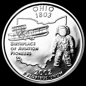 2002 S 25C STATE QUARTER OHIO RR GDC PROOF CN CLAD 50 CENTS SHIPPING