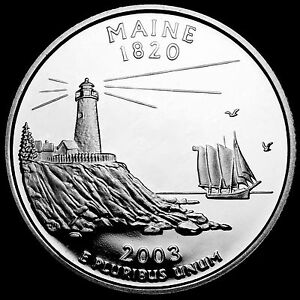 2003 S 25C STATE QUARTER MAINE RR GDC PROOF CN CLAD 50 CENTS SHIPPING