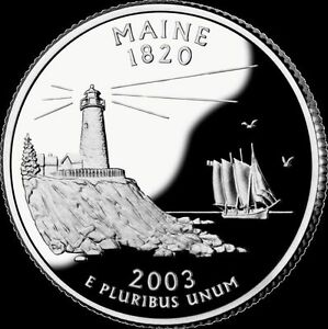 2003 S 25C STATE QUARTER MAINE LAT GDC PROOF 90  SILVER 50 CENTS SHIPPING