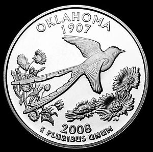 2008 S 25C STATE QUARTER OKLAHOMA STL GDC PROOF 90  SILVER 50 CENTS SHIPPING