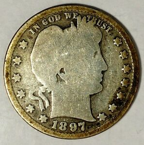 1897 P 25C BARBER QUARTER 19STH0127 90  SILVER 50 CENTS SHIPPING