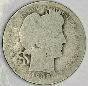 1908 P 25C BARBER QUARTER 19OAS0917 90  SILVER 50 CENTS SHIPPING