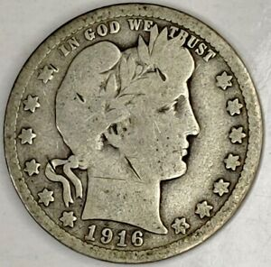 1916 D 25C BARBER QUARTER 19UCT1122 90  SILVER ONLY 50 CENTS FOR SHIPPING