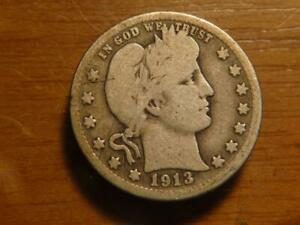 1913 D BARBER QUARTER FEW BLEMISHES LOW MINTAGE CIRCULATED CONDITION  SKU17872