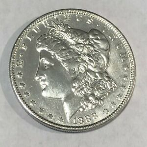 1888 POLISHED XF AU MORGAN SILVER DOLLAR.   LOTNR1