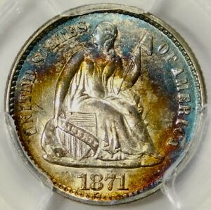 PCGS MS63 1871 SEATED HALF DIME