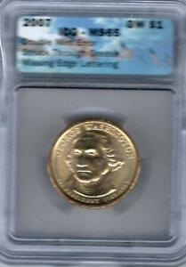 2007 GW $1 ICG MS 65 DOUBLE MINT ERROR LETTERING AND STRUCK THROUGH GREASE
