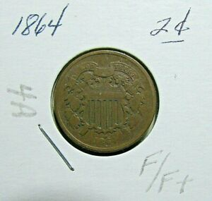NICE 1864  2 CENT PIECE   F OR BETTER DETAILS   CIVIL WAR COIN    4A