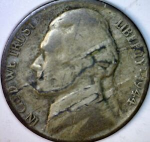 1944 ERROR LARGE LAMINATION OBV. JEFFERSON NICKEL SILVER WWI COIN