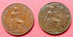 BRITAIN  PAIR OF VINTAGE CONSECUTIVE DATES 1924 & 1925  KING GEORGE V  FARTHINGS