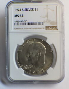Click now to see the BUY IT NOW Price! 1974 S EISENHOWER SILVER DOLLAR MS64 $1