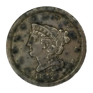 1851 1/2C BRAIDED HAIR HALF CENT AU UNCERTIFIED