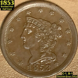 1853 BRAIDED HAIR HALF CENT  C 1 B 1    AU