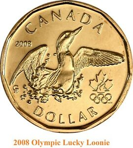 2008 BEIJING OLYMPICS  CANADA LUCKY LOONIE. UNC. ONE DOLLAR 1 $ COIN
