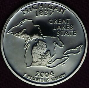 2004 S PROOF MICHIGAN CLAD STATE QUARTER FROM PROOF SET