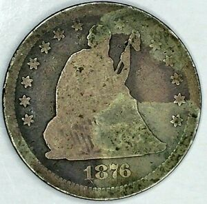 1876 P 25C SEATED LIBERTY QUARTER 90  SILVER 19CTU0908 50 CENTS SHIPPING