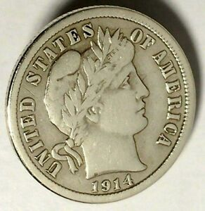 1914 P 10C BARBER DIME 90  SILVER 18ACT0103 50 CENTS SHIPPING