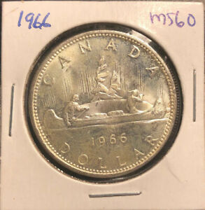 CANADA 1966 SILVER DOLLAR $1 MS60 IN HOLDER