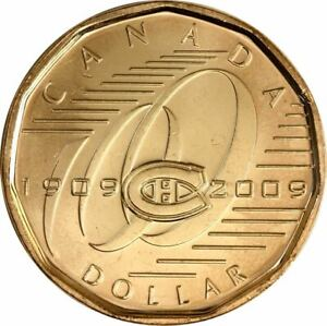 2009 CANADA MONTREAL CANADIENS LOONIE. UNC. ONE DOLLAR 1 $ COIN