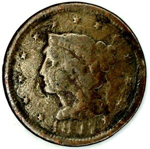 1847 P 1C BRAIDED HAIR LARGE CENT 19OHW1123 50 CENTS SHIPPING