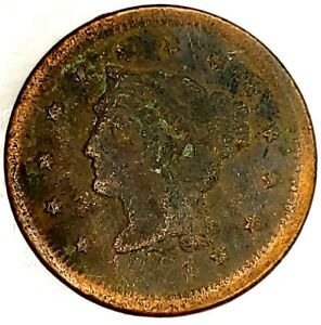 1854 P 1C BRAIDED HAIR LARGE CENT 19UTH1123 50 CENTS SHIPPING