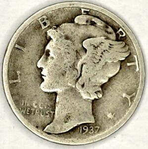1937 P 10C MERCURY DIME 90  SILVER 20LLW0119 50 CENTS SHIPPING