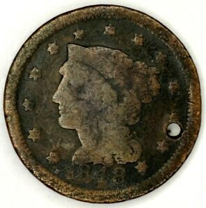 1848 P 1C BRAIDED HAIR LARGE CENT 19LUA1123 2 50 CENTS SHIPPING