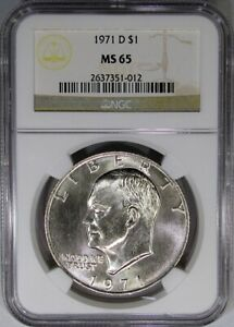 1971 D IKE $1 NGC MS65 EISENHOWER DOLLAR   WHITE HIGH END GEM