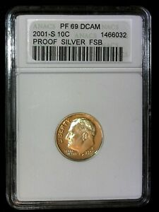 2001 S PROOF SILVER FSB ROOSEVELT DIME 10 C  PF69 DCAM ANACS
