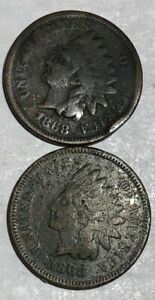 TWO 1868 INDIAN HEAD CENTS GOOD BOTH WITH PROBLEMS. LOTUR1