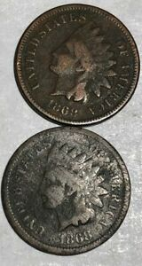 TWO 1868 INDIAN HEAD CENTS GOOD BOTH ROUGH. LOTUU2