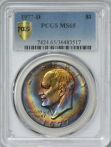 Click now to see the BUY IT NOW Price! 1977 D EISENHOWER DOLLAR PCGS MS65   SECURE HOLDER   TONING