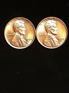 1954 & 1955 D LINCOLN WHEAT CENT  UNCIRCULATED GEMS  FRESH OUT OF BANK ROLL. BU