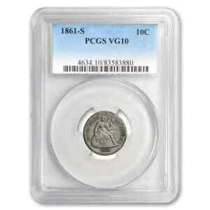 1861 S LIBERTY SEATED DIME VG 10 PCGS   SKU206580