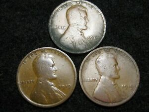 LOT OF THREE 1919 LINCOLN WHEAT PENNIES