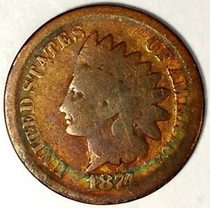 1874 P 1C INDIAN HEAD CENT SEMI KEY DATE 18HLW2204 50 CENTS SHIPPING