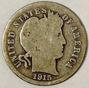 1915 P 10C BARBER DIME 90  SILVER 18OCO1201 50 CENTS SHIPPING