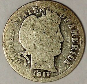 1911 P 10C BARBER DIME 90  SILVER 18OTT0816 50 CENTS SHIPPING