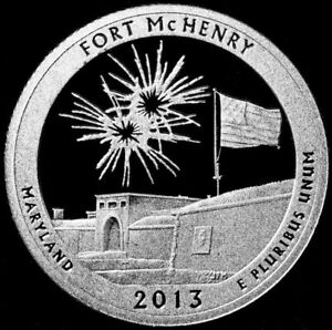 2013 S 25C ATB QUARTER FORT MCHENRY GDC PROOF CN CLAD 50 CENTS SHIPPING